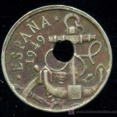 Monedas con errores: FRANCO : 50 CENTIMOS 1949 *54 CON AGUJERO DESPLAZADO. Lote 27572236