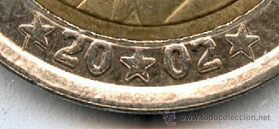 * ERROR * 2 EUROS AÑO 2002 ESPAÑA. GROSORES EN LA FECHA. (Numismática - España Modernas y Contemporáneas - Variedades y Errores)