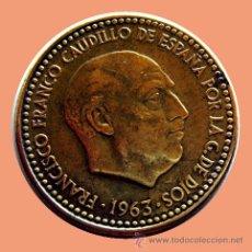 Monedas con errores: ERRORES Y VARIANTES. 1 PESETA 1963 *65. ANV. REBORDE . REV. REPINTADA. Lote 28614627