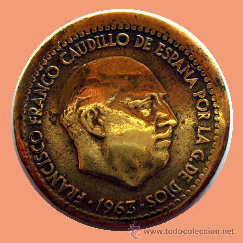 ERRORES Y VARIANTES. 1 PESETA 1963 *67 . DESPLAZADA (Numismática - España Modernas y Contemporáneas - Variedades y Errores)