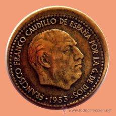 Monedas con errores: ERRORES Y VARIANTES - 1 PESETA 1953* 63 DESPLAZADA 10%. Lote 28616015