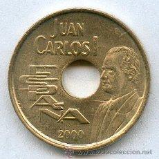 Monedas con errores: * ERROR * 25 PESETAS AÑO 2OOO SIN CIRCULAR. BANDA EN EL HOMBRO. AHORRA EN GASTOS AGRUPANDO COMPRAS. Lote 38572734