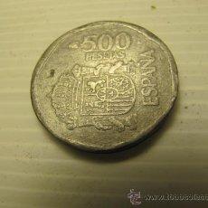 Monedas con errores: RARA MONEDA FALSA DE 500PTS, ZINC O PLOMO, ANVERSO Y REVERSO MARCADOS. 12,9GRAMOS. Lote 30592041
