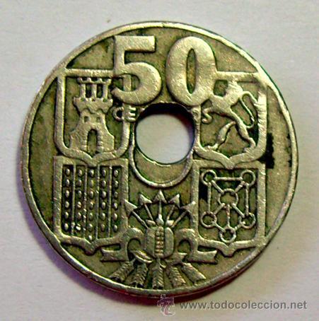 Monedas con errores: VARIEDADES Y ERRORES . 50 CENTIMOS ESTADO ESPAÑOL.1949 *62 . AGUJERO DESPLAZADO - Foto 2 - 31191974