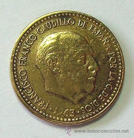 VARIEDADES Y ERRORES . 1 PESETA 1963 *67 . REPINTADA (Numismática - España Modernas y Contemporáneas - Variedades y Errores)