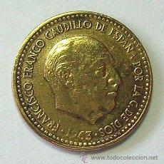 Monedas con errores: VARIEDADES Y ERRORES . 1 PESETA 1963 *67 . REPINTADA. Lote 31330561
