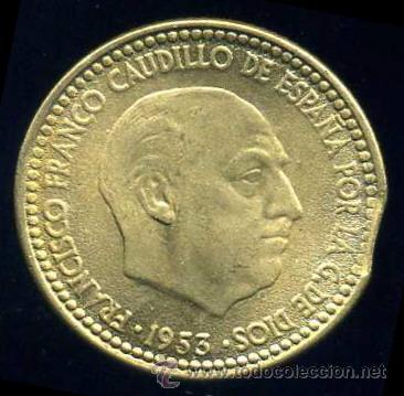 ERROR DE FINAL DE PLANCHA - 1 PESETA 1953 *63 S/C (Numismática - España Modernas y Contemporáneas - Variedades y Errores)