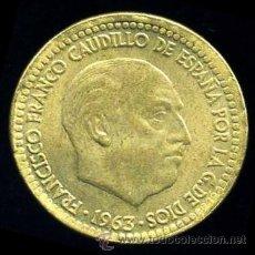 Monedas con errores: ERROR DE REBORDE SALIENTE EN CANTO - 1 PESETA 1963 *66 . Lote 39121432