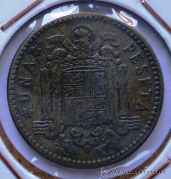 1 PESETA 1963*66 REPINTADA EN REVERSO (Numismática - España Modernas y Contemporáneas - Variedades y Errores)