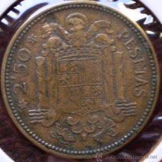 Monedas con errores: 2,50 PESETAS 1953*54 HOJA SALTADA EN REVERSO. Lote 32786057