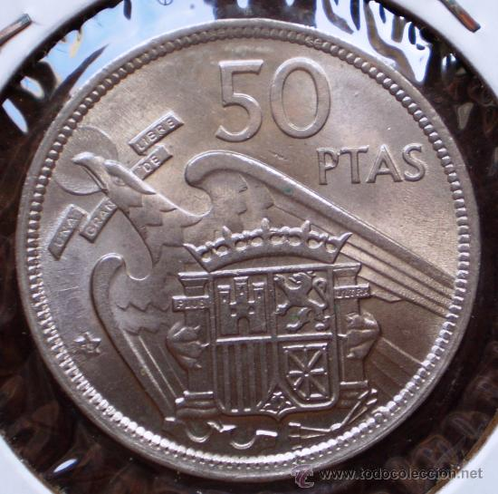 50 PESETAS 1957*58 REPINTADA REVERSO (Numismática - España Modernas y Contemporáneas - Variedades y Errores)