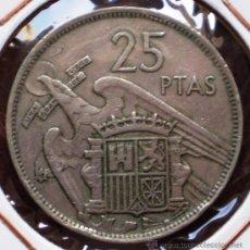 Coins with Errors - 25 Pesetas 1957*68 Exceso de Metal en Reverso - 32808737