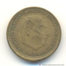 Monedas con errores: 25- PESETA 1963 ACUÑACIÓN DESPLAZADA ABAJO.. Lote 33298071