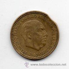 Monedas con errores: FRANCO. 1 PESETA. AÑO 1963 *19 *65. SEGMENTADA.. Lote 36092078