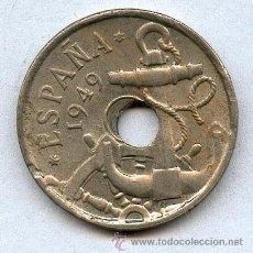 Monedas con errores: * ERROR * TALADRO DESPLAZADO. 50 CENTIMOS 1949*52. PRECIOSA. Lote 39210316
