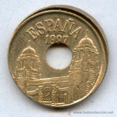 Monedas con errores: * ERROR * 25 PTAS AÑO 1997 ERROR * LABIADA * CANTO IRREGULAR. Lote 41155754