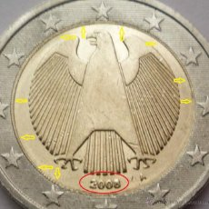 Monedas con errores: ALEMANIA 2008 MONEDA DE 2 EUROS LETRA A CON EXCESO DE METAL - DESCENTRADA- ERROR- VARIANTE - AL3. Lote 48073448