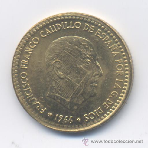 ESTADO ESPAÑOL- 1 PESETA 1966*75 - ESCUDO IMPRESO SOBRA LA CARA DE FRANCO (Numismática - España Modernas y Contemporáneas - Variedades y Errores)