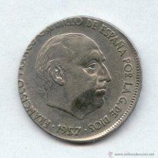 Monedas con errores: * ERROR * IMPRESIONANTE 25 PESETAS AÑO 1957 ACUÑADA EN EL COSPEL DE 5 PESETAS. Lote 51146518