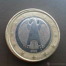 Monedas con errores: ## 1 EURO ALEMANIA 2002 F ACUÑACION DESPLAZADA ##. Lote 51232366