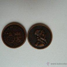 Monnaies avec erreurs: ALBACETE 2 MONEDAS DE JUEGO ACUÑADAS FRONTAL CHINO TRASERA ANAGRAMA CAJA DE AHORROS DE ALBACETE. Lote 53503987
