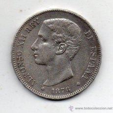 Monedas con errores: ALFONSO XII. 5 PESETAS. AÑO 1876. VARIEDAD OREJA RAYADA. PLATA.. Lote 53749171