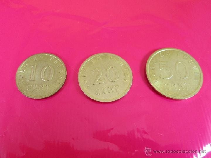 LOTE 3 MONEDAS-EURO-PRUEBA-10,20,50 CENTS-VER FOTOS. (Numismática - España Modernas y Contemporáneas - Variedades y Errores)