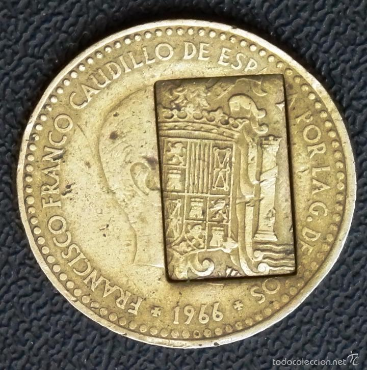 Monedas con errores: MONEDA ESPAÑA - 1 PESETA CON FECHA 1966 ( *19_ 71* ) - CON ERROR DE ACUÑACIÓN COSPEL - Foto 2 - 57037309