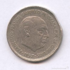 Monedas con errores: * ERROR * FINAL DE RIEL 5 PESETAS AÑO 1957*68. Lote 57068244