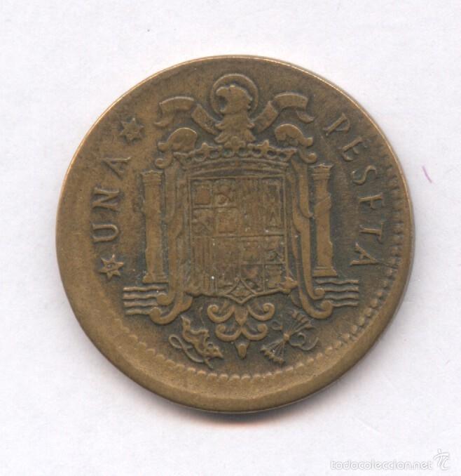 Monedas con errores: * ERROR * MONEDA CON ACUÑACION DESPLAZADA. 1 PESETA AÑO 1953*56 - Foto 2 - 57380557