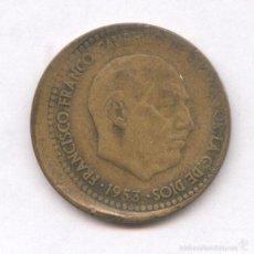 Monedas con errores: * ERROR * MONEDA CON ACUÑACION DESPLAZADA.1 PESETA AÑO 1953*63. Lote 57380621