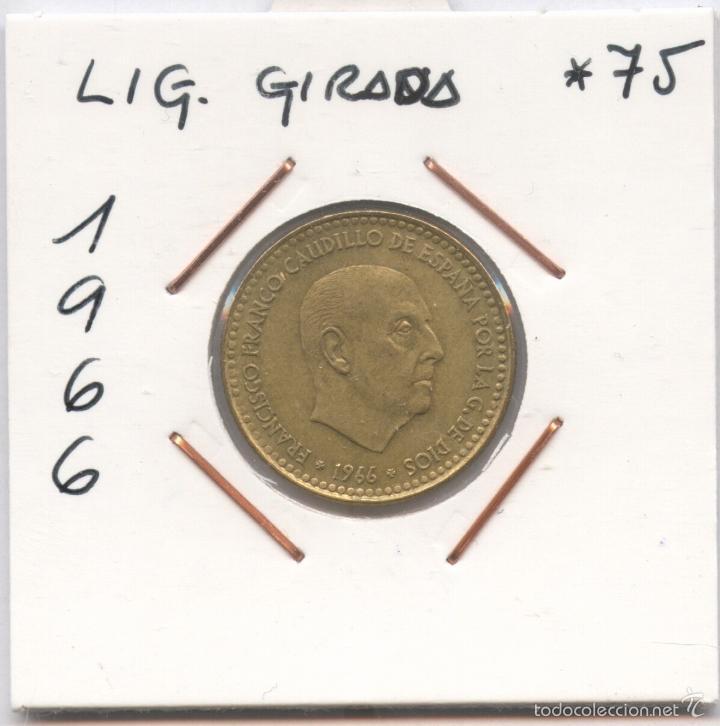* ERROR * MONEDA LIGERAMENTE GIRADA. 1 PESETA AÑO 1966*75 (Numismática - España Modernas y Contemporáneas - Variedades y Errores)
