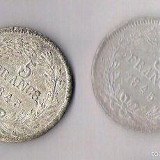 Monedas con errores: 5 FRANCOS 1845 FALSOS DE LA EPOCA ** RARISIMOS ** ACUÑACION DE DOS REVERSOS . Lote 57738527