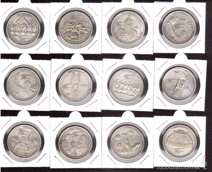 12 MONEDAS DEL REAL MADRID CON BAÑO DE PLATA (Numismática - España Modernas y Contemporáneas - Variedades y Errores)
