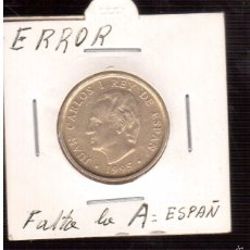 Monedas con errores: MONEDA DE100 PESETAS LE FALTA LA A ESPAÑ. Lote 60451707