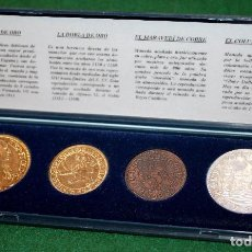 Monedas con errores: REPRODUCCIONES ONZA DE ORO, DOBLA DE ORO, MARAVEDÍ DE COBRE Y COLUMNARIO DE PLATA ESPECTACULAR!!!. Lote 78989049