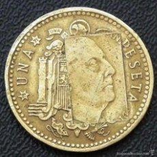 Monedas con errores: MONEDA ESPAÑA - 1 PESETA CON FECHA 1966 ( *19_ 71* ) - CON ERROR DE ACUÑACIÓN COSPEL. Lote 57037309