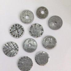 Monedas con errores: ANTIGUAS 10 MONEDAS DE DIEZ CENTIMOS DE ESPAÑA AÑOS 1940, 41 45... - TROQUELADAS DECORADAS - . Lote 81237860