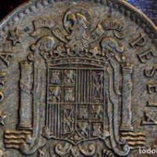 Monedas con errores: MONEDA DE UNA PESETA DE FRANCO, 1966 *75 CON EXTRAÑO COSPEL Y LEVANTAMIENTO DE LISTEL (REF.145). Lote 83196904