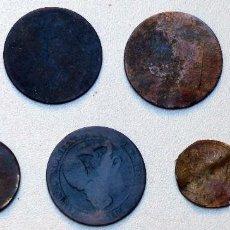 Monedas con errores: 7 ANTIGUAS MONEDAS MUY DESGASTADAS. Lote 87186072