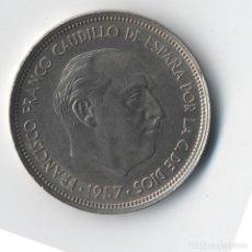 Monedas con errores: MONEDA DE 50 PESETAS 1957*59 -RAREZA COLA Y PLUMAS AGUILA- LIGERAMENTE DESPLAZADA-SC-. Lote 92900505