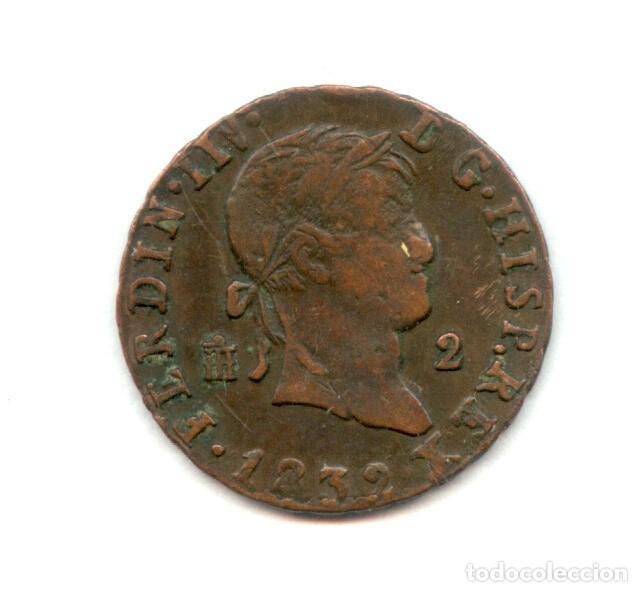 Monedas con errores: * ERROR EXTRAORDINARIO * 2 MARAVEDIS FERNANDO VII 1832 NUMERAL IIV - Foto 2 - 92932060