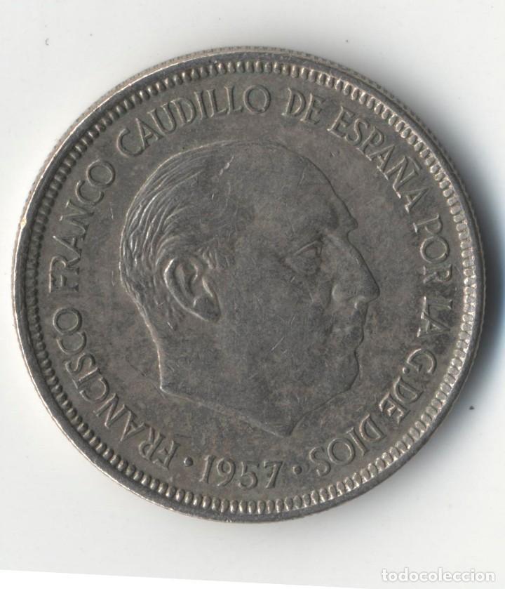 Monedas con errores: ESTADO ESPAÑOL 5 PESETAS 1957*75, ERROR HOJA SALTADA - Foto 2 - 93810845