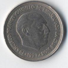 Monedas con errores: ESTADO ESPAÑOL 5 PESETAS 1957 *SEGMENTADA, FALTA PARTE DE HOJA, SOLO DOS PLUMAS EN ALA.. Lote 93819715