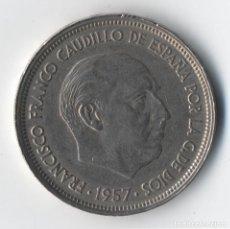 Coins with Errors - ESTADO ESPAÑOL 50 PESETAS 1957 *59 ANVERSO ACUÑACIÓN INCUSA DEL REVERSO DOS PLUMAS EN ALA... - 93823470