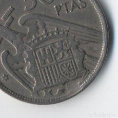 Monedas con errores: ESTADO ESPAÑOL 50 PESETAS 1957 *58 IMPACTO ZONA FLECHAS Y ENTRE ALAS, PEQUEÑO REPINTE.. Lote 93844455