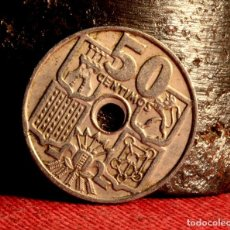 Monedas con errores: CINCUENTA CÉNTIMOS 1949 *52: TALADRO PEQUEÑO Y DESCENTRADO (REF. 394). Lote 94549111
