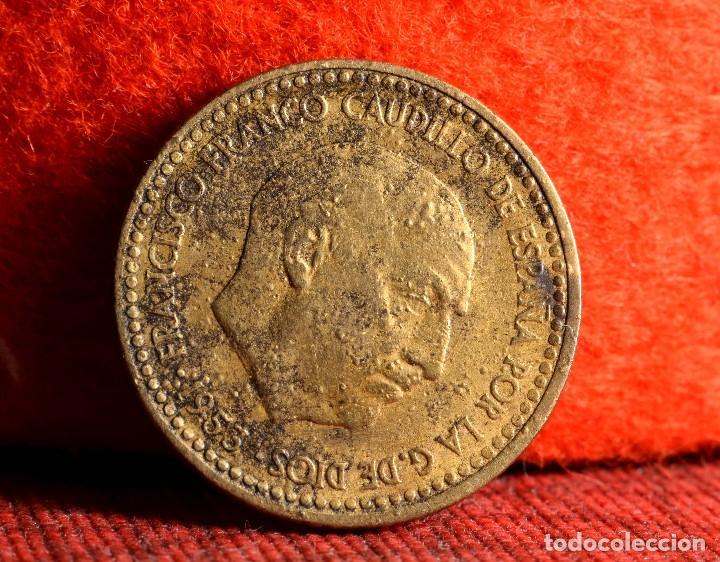 Monedas con errores: UNA PESETA 1953 *62: ERROR POR MUY CONSIDERABLE EFECTO DE GALLEO (REF. 411) - Foto 2 - 96475211