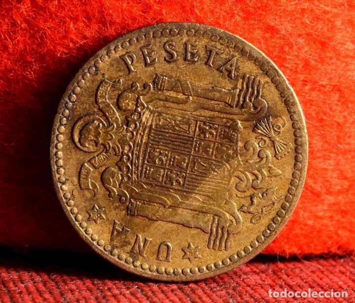 Monedas con errores: UNA PESETA 1953 *62: ERROR POR MUY CONSIDERABLE EFECTO DE GALLEO (REF. 411) - Foto 3 - 96475211