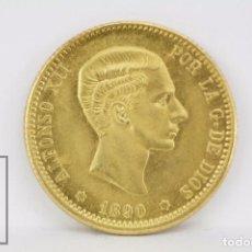 Monedas con errores: REPRODUCCIÓN MONEDA, ORO 18 KT - 10 PESETAS - ALFONSO XII. AÑO 1890, FECHA FALSA - CONSERVACIÓN SC. Lote 98858511